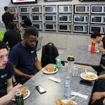 Employees eating lunch